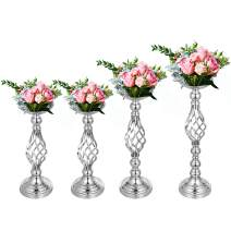 """Happybuy Flower Rack for Wedding 4pcs Metal Candle Stand 16""""/18.6""""/21"""" Height Silver Centerpieces for Tables Wedding Vases Centerpieces Tabletop Candlestick for Party Event Dinner Flowe"""