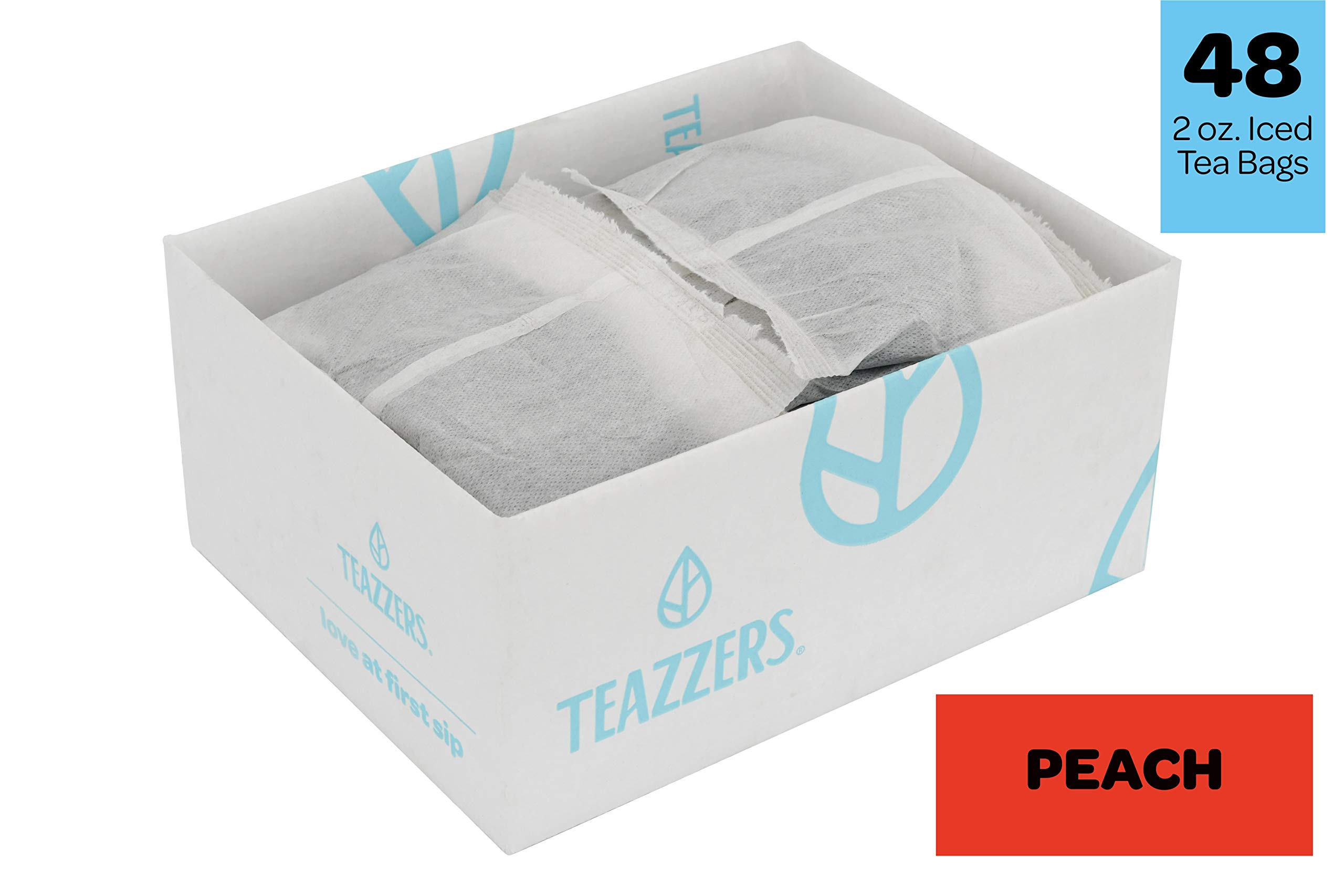 Teazzers Premium Black Peach Tea Bags, Large 2-Gallon Iced Tea Brew, Commercial Size Tea Filters, Bulk 48 Pack, 2oz. Great for Foodservice Ice Tea Brewers, Unsweetened