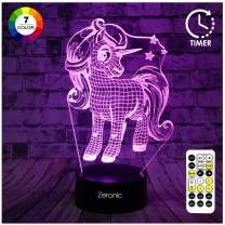 Unicorn Gifts, Unicorn Toys for Girls 7 Colors Changing 3D Night Light with Timer & Remote Control & Smart Touch, Xmas Gifts Birthday Gifts for Girls Age 2 3 4 5 6+ Year Old Girl Gifts (Unicorn-1)