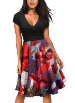 Miusol Women's Flare Floral Contrast Casual Evening Party Mini Dress