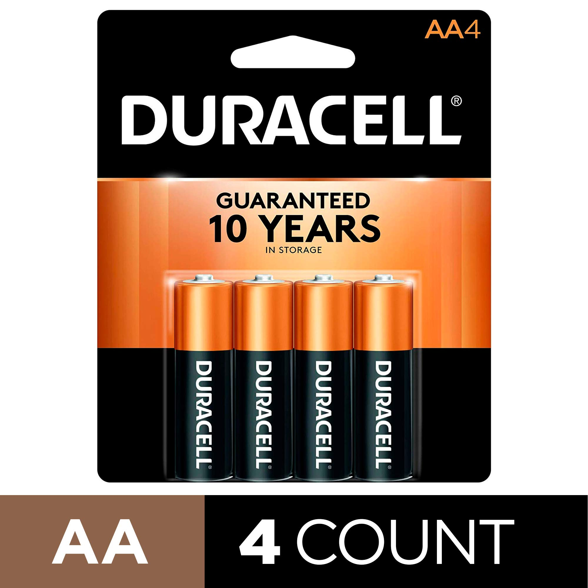 Duracell - CopperTop AA Alkaline Batteries - Long Lasting, All-Purpose Double A Battery for Household and Business – 4 Count