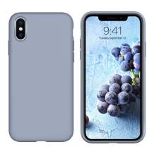 iPhone Xs Case iPhone X Case Liquid Silicone GUAGUA Soft Gel Rubber Slim Lightweight Microfiber Lining Cushion Texture Cover Shockproof Protective Anti-Scratch Phone Case for iPhone Xs/X Lavender Grey