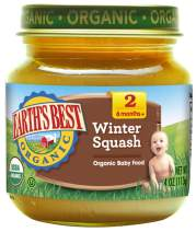 Earth's Best Organic Stage 2 Baby Food, Winter Squash, 4 oz. Jar (Pack of 12)