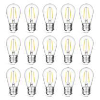 VISTERLITE 15 Pack Dimmable Shatterproof S14 LED Replacement Outdoor String Light Bulbs, 2700K 2W Plastic LED E26 Medium Screw Base Edison Bulbs Equivalent to 11-25 watt
