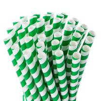 Webake Extra Wide Green Paper Straws Biodegradable 0.4 Inch Smoothie Straws, Bulk 100 Pack Green Striped Jumbo Drinking Straws, Christmas Decorations Great for Smoothies, Bubble Tea, Milkshake