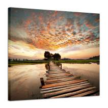 "Hardy Gallery Landscape Artworks Pictures Wall Art: Stairway to Heaven's Sunset Stunning Lake Bridge Print on Canvas for Living Room (18"" x 24"" x 1 Panel)"