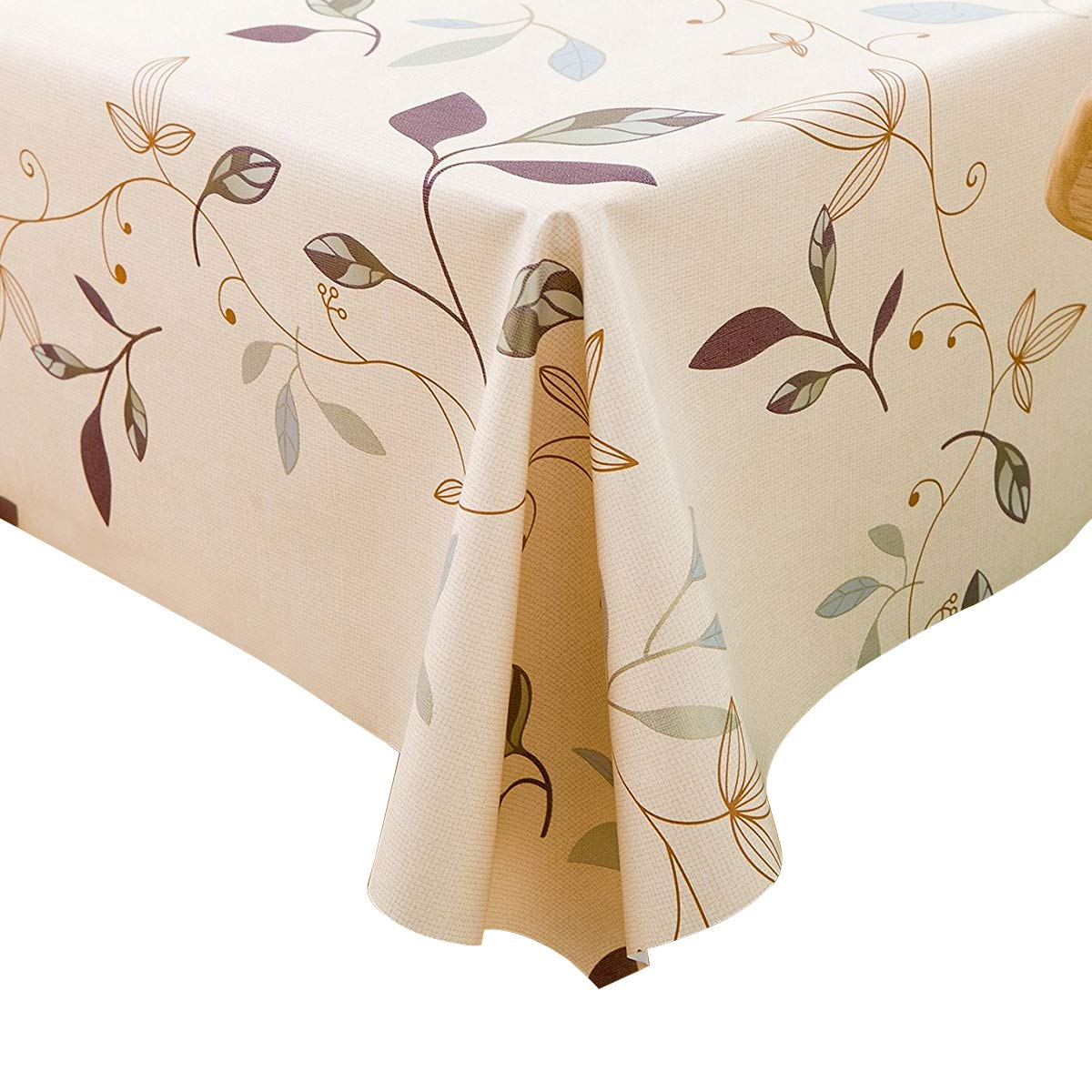 LEEVAN Heavy Weight Vinyl Rectangle Table Cover Wipe Clean PVC Tablecloth Oil-Proof/Waterproof Stain-Resistant- 54 x 78 Inch (Autumn Leaves)