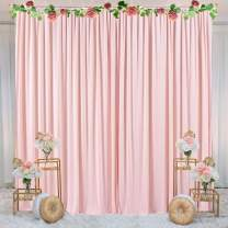 Pink Backdrop Curtain for Parties Photo Backdrop Wedding Baby Shower Photography Background with Gold Curtain Tiebacks 5ft x 7ft Pack of Two