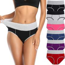 Women's High Waisted Cotton Underwear Soft Breathable Ladies Panties Stretch Full Briefs Regular& Plus Size Multipack