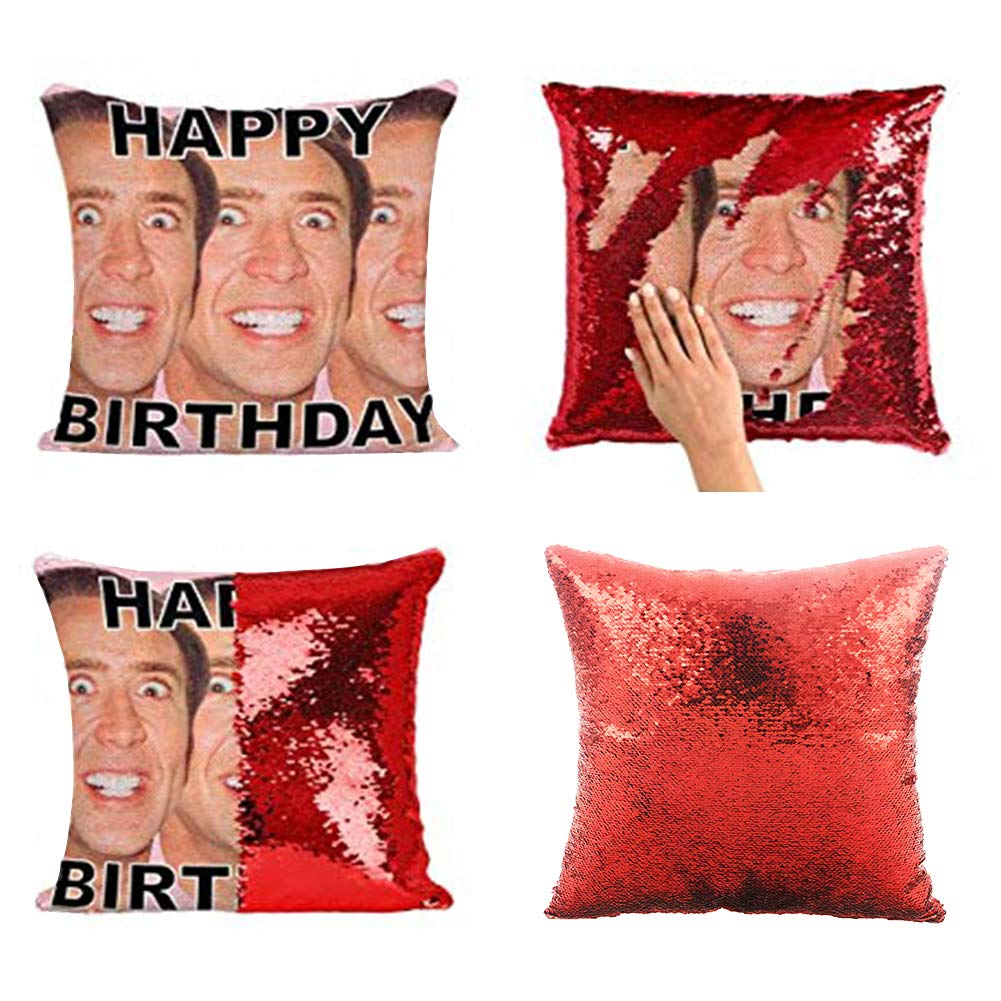 KISSBUTY Mermaid Pillow Cover Magic Reversible Sequin Pillow Cover Throw Cushion Case Decorative Pillowcase That Change Color (Nicolas Cage Pillow Cover)