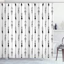 "Ambesonne Arrow Shower Curtain, Hand Drawn Linked Endless Arrows Pattern Vintage Tribal Illustration Artwork Print, Cloth Fabric Bathroom Decor Set with Hooks, 75"" Long, Grey"