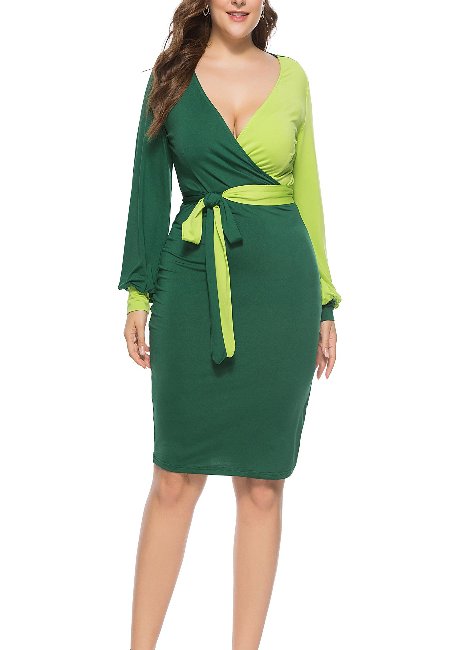 FACE N FACE Womens Sexy Deep V-Neck Midi Bodycon Dresses Long Sleeve Tie Front Colorblock Pencil Dress Mediun Light Green