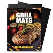 Quanzhou Chenchenchen E-Commerce Co.,Ltd Grill Mat Set of 2 / Non-Stick BBQ Grill Mats, Reusable and Easy to Clean - Works on Electric Grill Gas Charcoal BBQ - 15.6 x 12.87 inch, Black