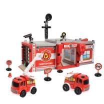 WolVol Do-It-Yourself Fire Station Garage w/ Lights & Sounds - Design & Build Your Own Playset for Kids & Children