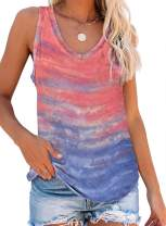 Elapsy Womens Tie Dye Print Scoop Neck Knit Tank Tops Casual Summer Loose Sleeveless Cami Blouse Shirts