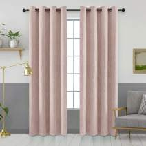 Melodieux Elegant Cotton Room Darkening Blackout Curtains for Living Room Bedroom Thermal Insulated Grommet Drapes, 52 by 96 Inch, Pink (1 Panel)