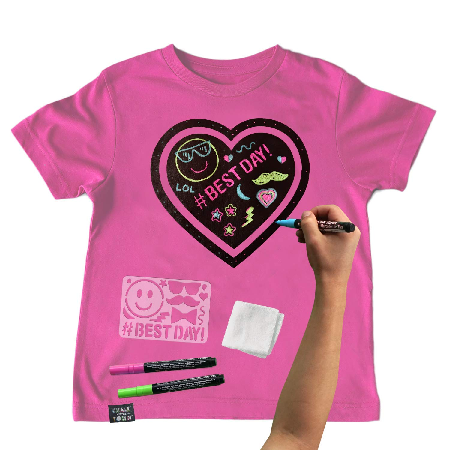 Chalk of the Town Pink Heart Chalkboard Short Sleeve T-Shirt Kit for Kids with 3 Markers and 1 Stencil (Youth Medium)