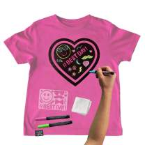 Chalk of the Town Pink Heart Chalkboard Short Sleeve T-Shirt Kit for Kids with 3 Markers and 1 Stencil (Youth Large)