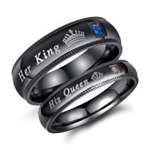 2Pcs Black Stainless Steel His Queen & Her King Couples Rings Set Wedding Engagement Band