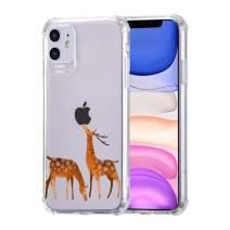 "zoohi iPhone 11 Clear Case with Deer Design, Soft TPU Anti-Scratch Clear Case, Corner Bumper Shock-Absorption Deer Design Case Cover for iPhone 11 6.1"""