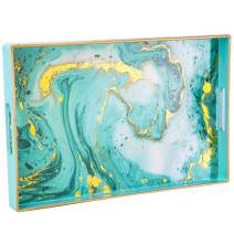 Zosenley Decorative Tray, Marbling Plastic Tray with Handles, Rectangular Vanity Tray and Serving Tray for Bathroom, Kitchen, Ottoman and Coffee Table, Golden Blue