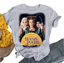 AIMITAG Halloween Sanderson Sisters T Shirt It's Just A Bunch of Hocus Pocus Tees for Women Fall Graphic Shirts Tops