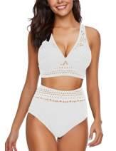 luvamia Women's Two Pieces Crochet Lace High Waist V Neck Bikini Set Swimsuit