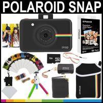 Polaroid Snap Instant Camera (Black) + 2x3 Zink Paper (30 Pack) + Neoprene Pouch + Photo Frames + Photo Album + 8GB Memory Card + Accessory Bundle, Model:AMZSPBLK2