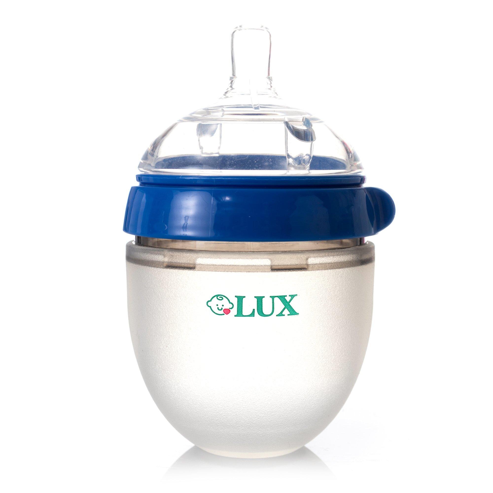 Baby Breastfeeding Nature Bottle by LUX – Slow Flow Newborn Feeding Bottle – BPA-Free Silicone – No Leak & No Waste Smart Design – Easy Transition – 5oz Slow Flow Nipple (Blue)