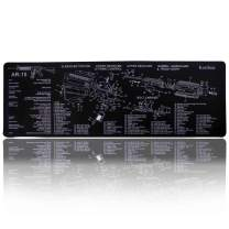 """Kosibate (TM) Gun Cleaning Mat Pad - Rifle Cleaning AR15 Large Long Rubber Black Work Bench for AR-15 Parts Diagram Waterproof Table 35.75""""x 12"""" Stitched Edge 4mm Thickness (AR-15 35.75""""x 12"""")"""