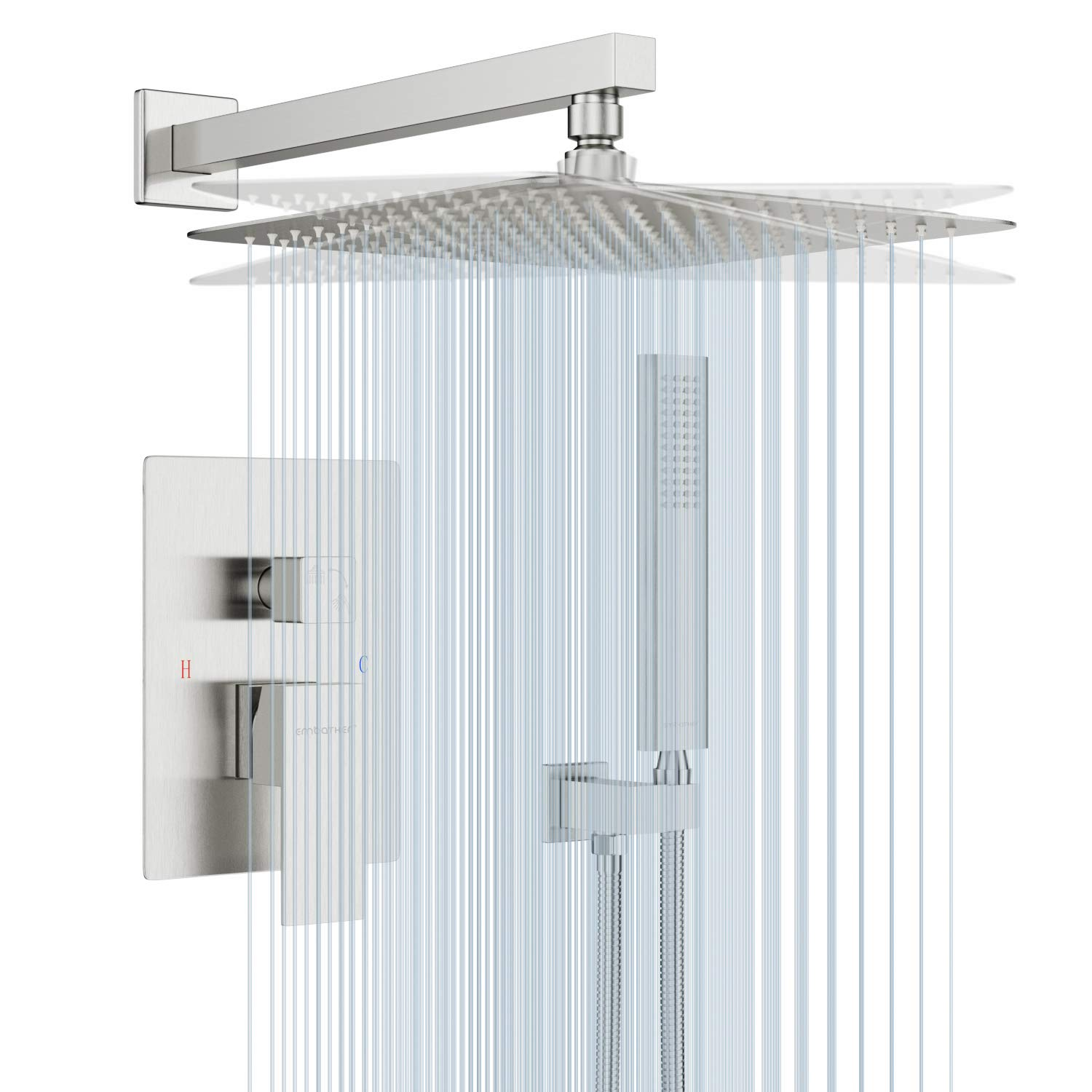 EMBATHER Shower System with Antirust Coating- Brushed Nickel Shower Faucet Set for Bathroom- 12 inches Square Rain Shower Head and Handheld- Easy Installation- Eco-Friendly