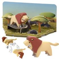 CubicFun Animal Toys 2 in 1 Puzzle with Magnetic Shell and Paper Models Diorama Kids Toys for 3 Year Olds and up, Lion Toy