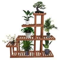 Yardeen Wooden Plant Stand Flower Display Holder Shelf 5 Tiers Storage Rack for Patio Garden Indoor Outdoor Corner 10 Pots Brown