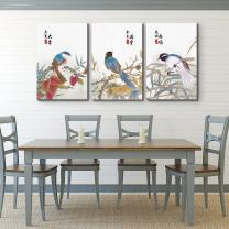 "wall26 - 3 Panel Canvas Wall Art - Colorful Birds Sitting on Branches with Chinese Writing Watercolor Art - Giclee Print Gallery Wrap Modern Home Decor Ready to Hang - 16""x24"" x 3 Panels"