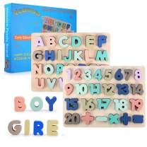 Wooden Peg Puzzles for Toddlers 2 3 4 5 Years Old, Voamuw Alphabet & Number Puzzles for Kids, Toddler Puzzles Set - Letters, Numbers, Learning Toys Gift for Girls and Boys (2Pack)