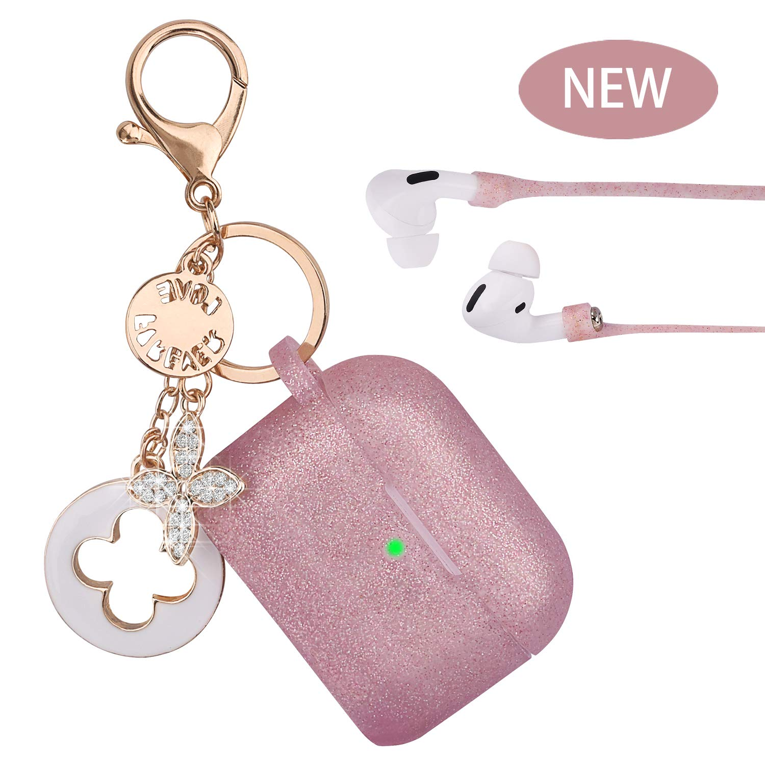 Airpods Pro Case - VIGOSS Airpods 3 Case Silicone for AirPods Pro Case Cover Women Protective Wireless Charging Case with Accessories Keychain/Strap Rose Gold