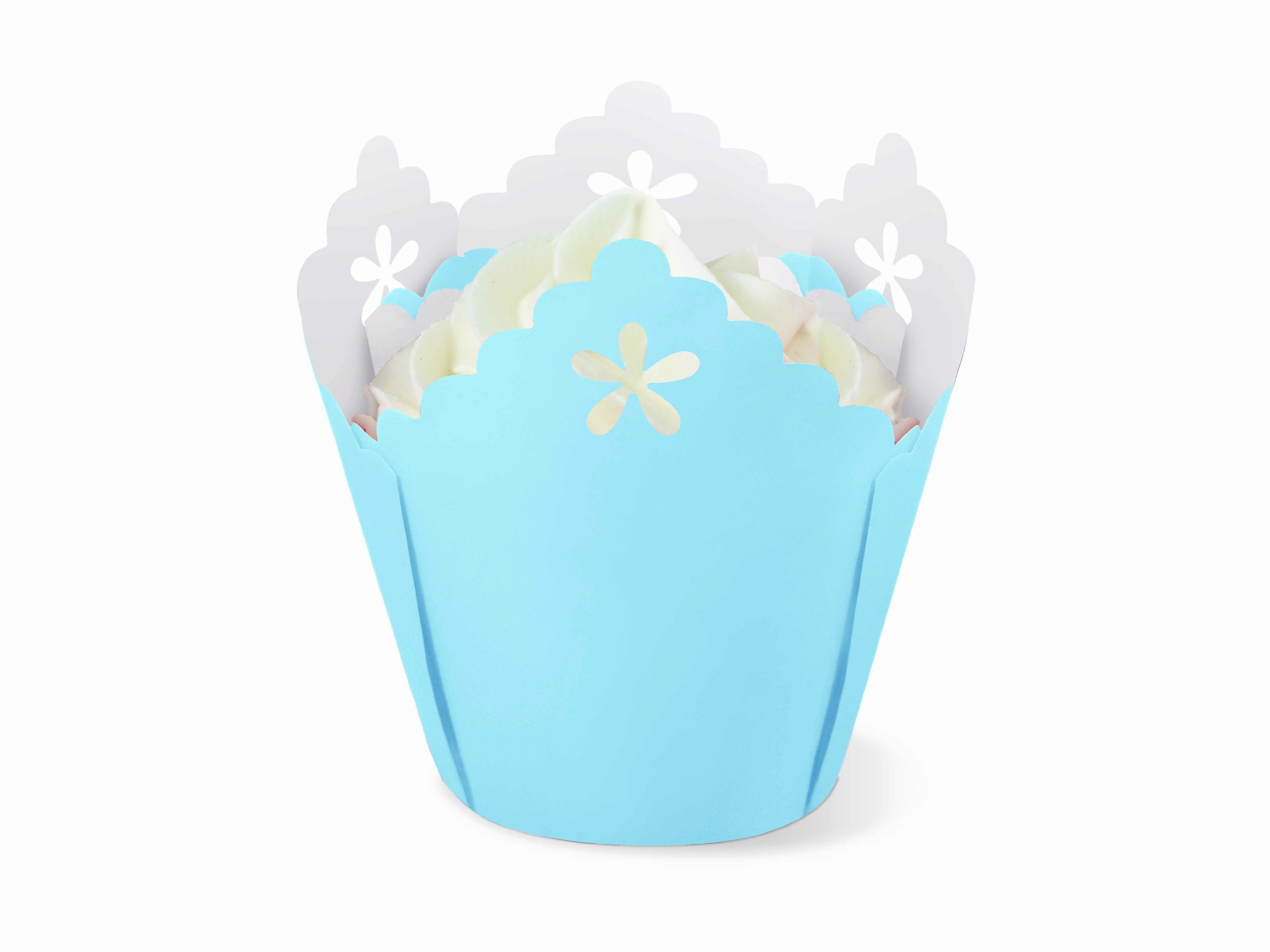 Wilton Flower Pleated Eyelet Baking Cups, 15 Count, Blue