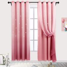 Hughapy Star Curtains Ombre Curtain for Kids Girls Bedroom - Tulle Overlay Star Cut Out Curtains Mix and Match Curtains for Living Room, Room Darkening Window Curtains, 1 Panel - (52W x 95L, Pink)