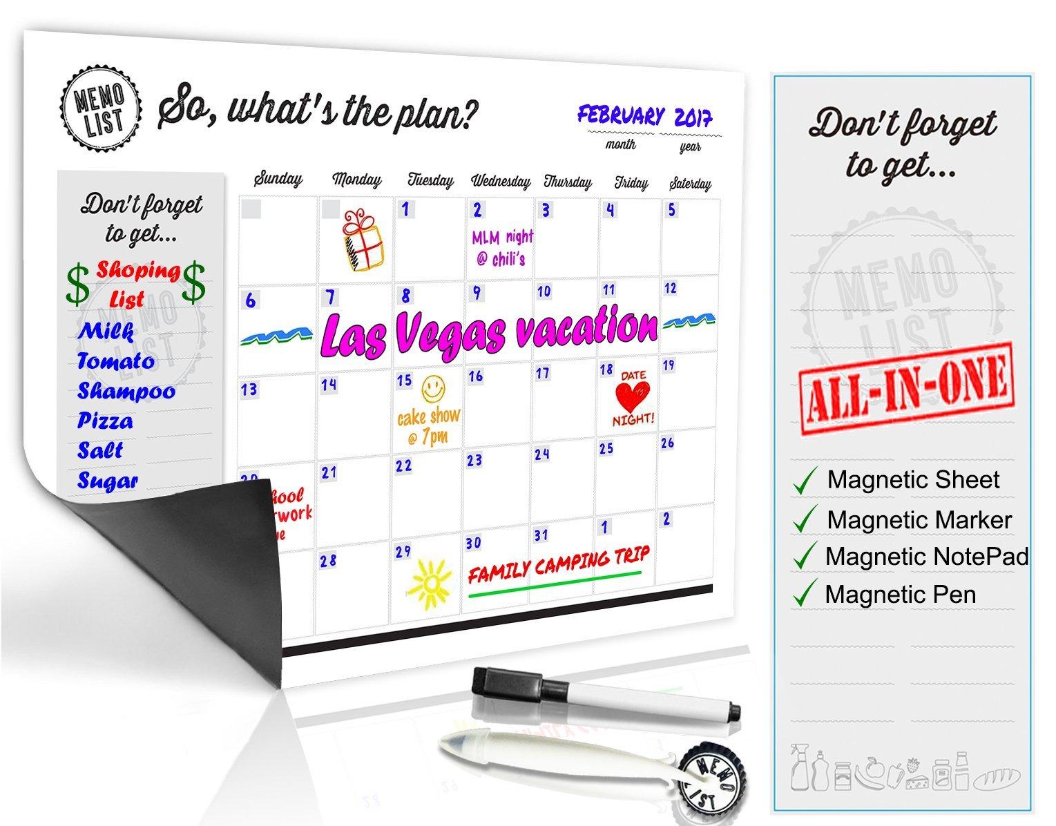 Refrigerator Calendar Kit – Includes Magnet Board/Magnetic Notepad/Magnetic Dry Erase Marker + Eraser Top/Design Magnetic Pen – Easily Write & Wipe (White)