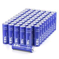 EBL AA Batteries 1.5V AA Alkaline Battery - Double A Homebasic Everyday AA Batteries for Game Controller, Mouse, Remote - Pack of 60