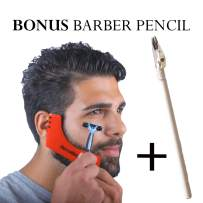 RevoBeard Beard Shaping/Styling & Edge up Tool - With Barber Lineup Pencil - Stencil/Guide for Trimming, Shaving, and Facial Hair Cutting - Use with Beard Trimmer & Razor - Men's Grooming Kit
