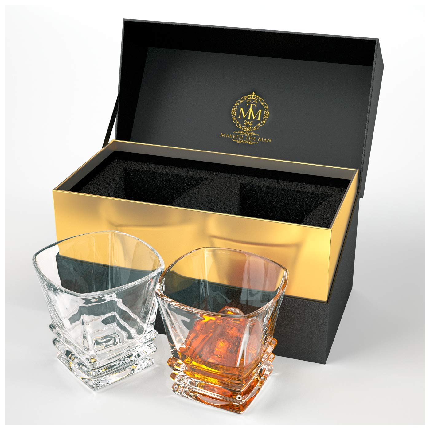 Premium Art Deco Whiskey Glass Set. 10oz Bourbon Glasses In Stylish Gift Box. Genuine Lead Free Crystal Scotch Glasses Designed In Europe. 2 Double Old Fashioned Rocks Glasses For Liquor And Alcohol.