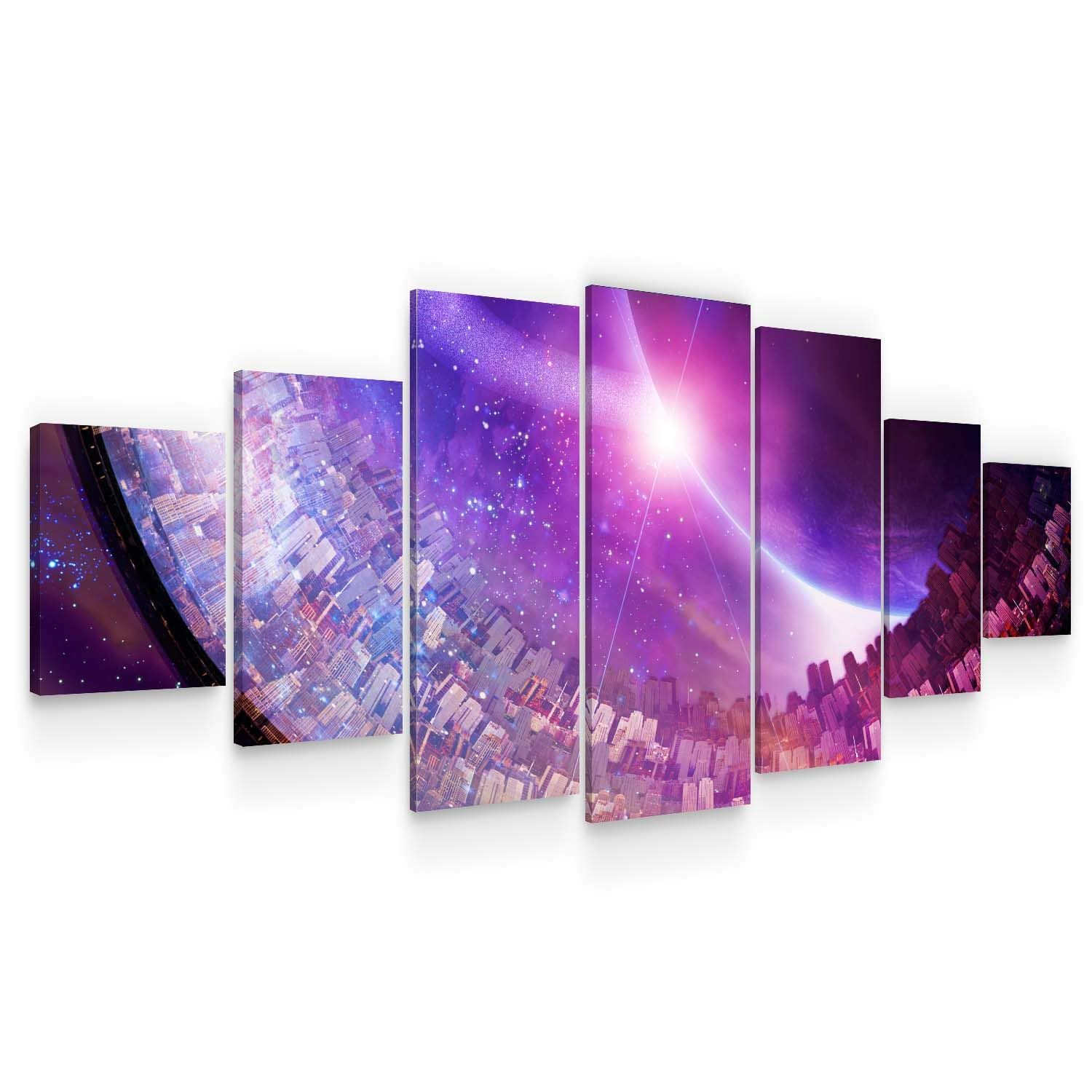 Startonight Huge Canvas Wall Art Purple Abstract - Large Framed Set of 7 40 x 95 Inches
