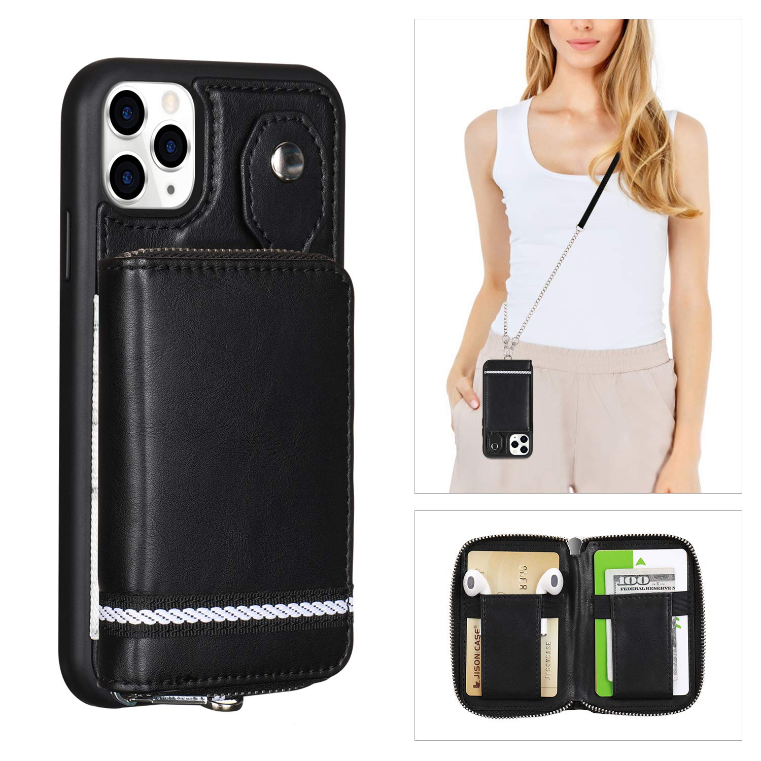 TOOVREN Upgraded iPhone 11 Pro Max Wallet Case, Detachable Zipper Purse iPhone 11 Pro Max Crossbody Case with Wrist Strap Card Holder Protective Cover Women Girl for iPhone 11 Pro Max - Black