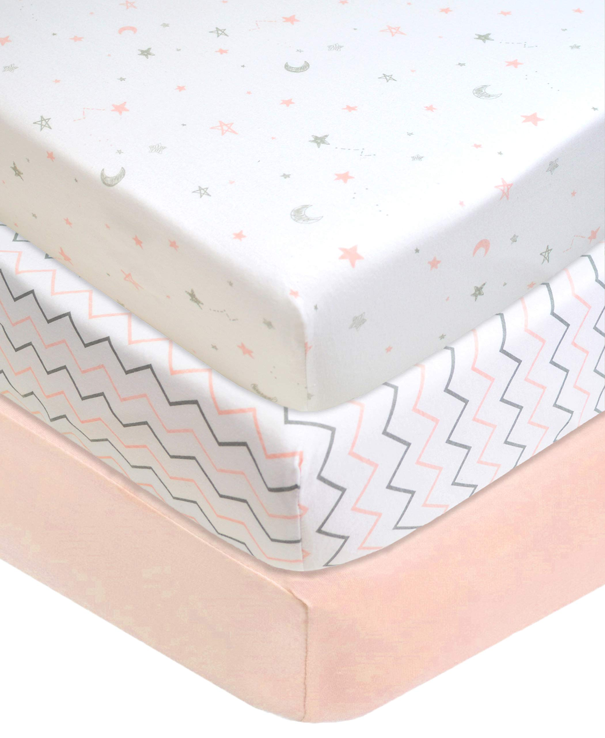 """American Baby Company 100% Natural Cotton Value Jersey Knit Fitted Portable/Mini-Crib Sheet, Pink Star/Zigzag, 24"""" x 38"""" x 5"""", Soft Breathable, for Girls, Pack of 3"""