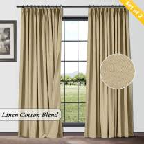 TWOPAGES Decorative Natural Window Curtains Solid Flax Linen Cotton Pinch Pleated Curtains for Living Room (2 Panels, Tan, 26 x 54)