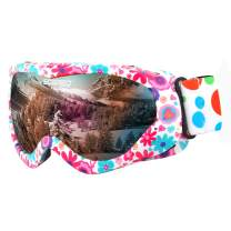 Soared Kids Ski Goggles, OTG Anti-Fog Snow Goggles, UV Protection Dual Lens Skating Goggles, Helmet Compatible for Boys Girls Youth