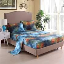 Mengersi Star Galaxy Bed Sheet Set -Kids Boys Girls Bed Sheets - Extra Soft - Deep Pockets - 1 Fitted Sheet, 1 Flat, 2 Pillow Cases - 4 Piece (Full, G)