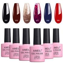 AIMEILI Gel Nail Polish Soak Off UV LED Gel Nail Lacquer Combo Color Set Of 6pcs X 10ml - Kit Set 21