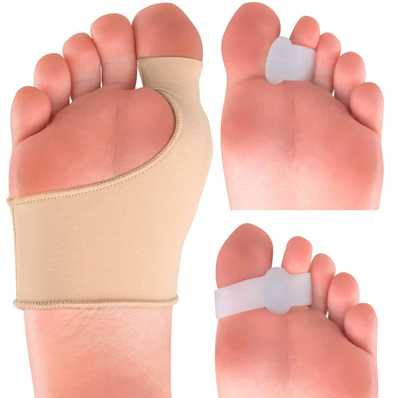 Bunion Corrector Kit - Elastic Beauty Gel Pad Bunion Sleeve for Men Women - Bootie Cushions Splint Orthopedic Foot Protectors - Pain Relief from Tailors Bunion Hallux Valgus Hammertoes